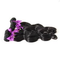 paquetes de pelo brasileño de 28 pulgadas al por mayor-Puer Black Color Brazilian Virgin Body Wave Hhair Bundles 10-30 Inch. Paquetes brasileños de trama de cabello de doble trama Extensión del cabello humano 100%