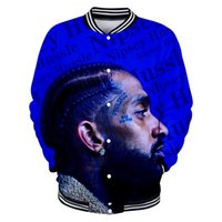 ingrosso giacche da stampa 3d-Giacca da uomo fashion designer Nipsey Hussle 3D Print Button manica lunga Casual felpa giacche di lusso Hip Hop Harajuku Streetwear coat