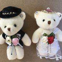 anime teddybär großhandel-Liebhaber Spielzeug Teddybär Plüschtier Teddy Puppe Braut und Brideroom Spielzeug Hochzeit Bär Geschenk Auto Dekoration