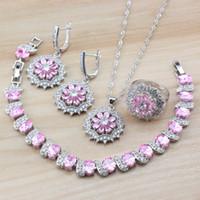 conjuntos de anillo de boda de color rosa al por mayor-Apuesto joven mujer boda joyería conjuntos 925 plata rosa Cubic Zircon Crystal cuelga los pendientes / collar / pulsera / anillo conjuntos