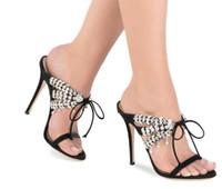 frente de encaje de cristal al por mayor-Slingback Sandalias de raso Crystal Tassel Tacones altos Sexy Front Lace Up One Strap Party zapatos de boda Sandalias Zapatillas Mujer