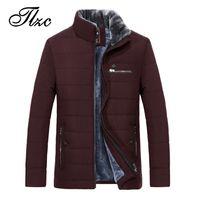 меховая одежда оптовых-TLZC 2018 New  Clothing Fur Lined Men Winter Coats Plus Size M-5XL Stand Collar Mens Fashion Long Jackets Coats Overcoat