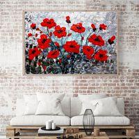 tulpe blumen leinwand großhandel-Blume Leinwand Poster Bunte Flora Poster und Drucke Abstrakte Wandkunst Lila Tulip Gemälde Bilder für Wohnzimmer Dekor