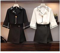 новый дизайн юбка леди оптовых-2019 New design women's fashion clothing sets 2 pcs top and skirt black white sets office lady working big size 4XL L #A280