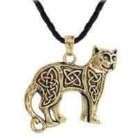 irische schmuck halskette großhandel-Nordische Viking Silber Celtic Cat Anhänger Halskette Slavic Irish Celtics Amulett Halskette Wikinger Schmuck versandkostenfrei