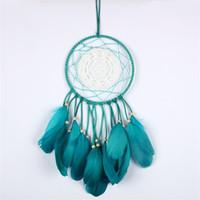 ornamentos do laço venda por atacado-Dream Catcher Lace Pendurado Ornamentos Bead Preto Pena Verde Quarto Decoração Da Parede Estilo Moda Criativa Presente 13 5btD1