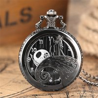 Silver Bronze Black Cover The Nightmare Before Christmas Pocket Watch Men Women Children Quartz Watches Necklace Chain Halloween Xmas Gift