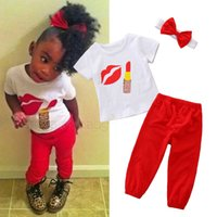 ingrosso rossetto t-shirt-Baby Girl Outfit Suit Toddler Girl Leopard Red Lip Lipstick Stampa T-Shirt Neonate Pantaloni tinta unita Elastic Pants con fiocco Fascia 1-6T