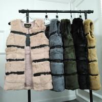 coletes reais de peles para mulheres venda por atacado-Médio Longo Natural Colete De Pele De Coelho Mulheres Moda Inverno Coletes De Pele Real Mulher Quente Casacos De Pele Coletes Femininos para o Inverno