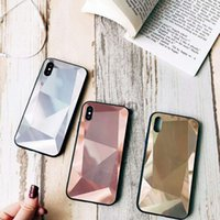 Wholesale chinese red white blue bag resale online - Tempered Glass Protector Cover Case for iPhone XS MAX XR XS Hard PC Case Diamond Design for iPhone PLUS with OPP bag
