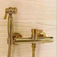 luxus gold messing wasserhähne großhandel-Arbeiten Sie Qualität Gesamt Messing Gold Bad Bidethahn Satz, Toilette Pistole Set, Luxus modernen Bad mit Dusche Wasserhahn Set