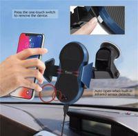 крепление приборной панели автомобиля оптовых-Беспроводное автомобильное зарядное устройство Auto-Clamp Qi Car Mount Fast ChargingStandard зарядное устройство лобовое стекло приборной панели вентиляционное отверстие Держатель телефона для телефонов с поддержкой QI
