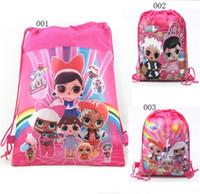 erkek çocuklar için bebek çantaları toptan satış-Sürpriz Kızlar Çocuk İpli Çanta dokunmamış Kumaşlar Sırt Çantası Karikatür Çift taraflı Cep Bebek Kız Erkek Okul Çantası Çocuk Snack Çanta A21603