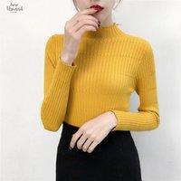 suéter negro a rayas amarillas al por mayor-Cuello alto suéter de punto Jerseys simples femeninos tapa de las señoras de moda las mujeres dulces suéteres de Corea del puente raya Negro Amarillo