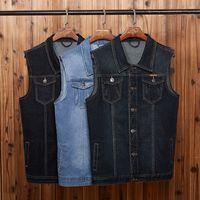 chaqueta de mezclilla gris de los hombres al por mayor-2019 Summer New Men's Denim Vest Moda Casual Estilo clásico Slim Fit Vest Jacket Jeans Coat Hombre Azul Negro Gris
