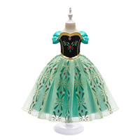 Wholesale Princess Dress for Girl Snow Queen Short Sleeve Snowflake Sash Cosplay Fancy Costume Halloween Pageant Party Clothes Kids Green Clothing