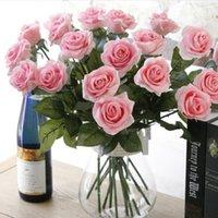 oda dekorasyonu güller toptan satış-Yüksek Simülasyon Güller, Tek Hissedin, Nemlendirici Güller, Tutan Sahte Çiçekler, Ev Salon Dekorasyon Çiçekler
