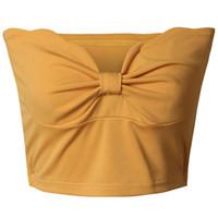 gelbe bandeau top großhandel-Damen Sommer unregelmäßige trägerlose Stretch Weste Tank Crop Top Tube trägerlosen Bandeau Stretch Clubwear weiß gelb rot schwarz