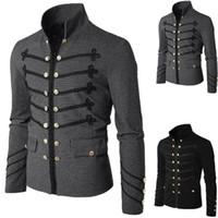işlemeli askeri ceketler toptan satış-Erkekler Vintage Askeri Ceket Gotik Askeri Parade Ceket İşlemeli Düğmeleri Katı Renk Üst Retro Üniforma Hırka Kabanlar