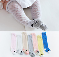 Wholesale girls ruffled lace socks resale online - Infant kids lace hollow socks baby girls stereo animal ear hole breathable stocking baby boys ruffle knee high sock baby cartoon leg F8373