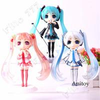 miku hatsune kar toptan satış-QPosket Q Posket Vocaloid Hatsune Miku Rakam Kar Miku Sakura PVC Aksiyon Figürleri Koleksiyon Model Oyuncaklar
