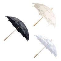 fildişi dantel şemsiye düğün toptan satış-Romantik düğün dantel şemsiye fildişi beyaz siyah el yapımı sanat şemsiye tarak kenar nakış düğün fotoğrafçılığı sahne