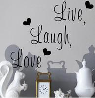cita diciendo etiqueta de la pared al por mayor-Live Laugh Love Quote Adhesivos de pared Decoración para el hogar Art Decal Sticker Adhesivos Cita Diciendo palabras Frases Wall Sticker Wallpaper