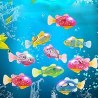 jouets robotique achat en gros de-Led Light up Turbot Poissons Robo Fish Enfants Bain Jouet Électronique Animaux Robotic Fish Pet Robofish Cadeaux Point