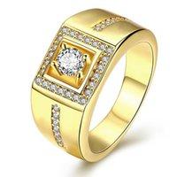 anillos de circonia amarilla al por mayor-Caballero Noble Oro amarillo lleno Cubic Zirconia Personalidad geométrica Anillo para hombre anel homens Tamaño 8 9