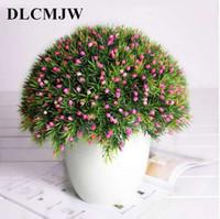 ingrosso vasi da fiori ornamentali-6 pz / lotto Piante artificiali Mini Erba creativa + Frutta Bonsa In vaso Arrangiamento Accessori Simulazione Pianta fiori ornamentali