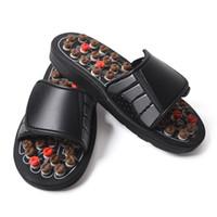 schwarze weiche sohlenschuhe großhandel-Tai Chi Acupoint Frühling Schwarz Massage Schuhe Gesundheitswesen Tragen Rutschfeste Hausschuhe Gummisohle Weiche Heiße Verkauf Shoeses