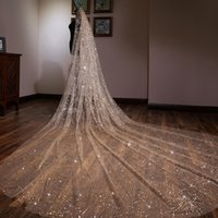 vestido de noiva swarovski branco venda por atacado-Luxo 2019 Champanhe Ouro 3 Metros de Comprimento Véu De Noiva Lantejoulas Véus De Noiva Uma Camada Borda Véu Espumante Com Pente