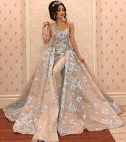 vestidos de damas de honor desmontables al por mayor-Vestidos de noche de sirena de lujo con perlas de tren desmontables de encaje apliques vestidos de baile elegante fiesta formal vestido de dama de honor BC1437
