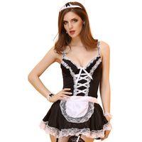 ee8c36c15 vestido sexy corto de látex al por mayor-Mujeres adultas de Halloween  Disfraz de sirvienta
