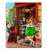 ingrosso signore di pittura a olio astratta-Trasporto libero di alta qualità dipinta a mano hd stampa astratta figura pittura a olio di arte del fumetto signora grassa su tela wall art home office deco p98