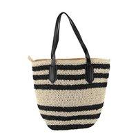 витражные соломинки оптовых-Summer Beach Bag Французский стиль Солома сумка Женщины Полосатый Tote Woven выдалбливают сумки Элегантный Vintage сумки