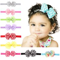 Wholesale girl head ribbon bow for sale - Group buy Baby Wave Bow Hairband Kids Girls Chiffon Bow Headband Ribbon Bowknot Head bands Children Hair Accessories Styles GGA2105