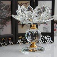 tealight cam mumluklar toptan satış-Kristal Cam Blok Lotus Çiçek Metal Mumluk Feng Shui Ev Dekorasyonu Büyük Tealight Mum Standı Tutucu Şamdanlar