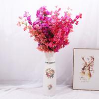 ingrosso fiore di prugna rossa-Triangolo di fiori artificiali Plum Long Branch Home Decorazione di nozze Simulazione Fiori di stoffa e plastica Purple Red 8 9ys C1kk
