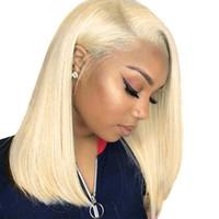 dentelle coupée achat en gros de-613 Avant de lacet perruques de cheveux humains Colorful Bob Cut perruques droites transparentes courtes perruques 150% perruque de cheveux humains Blonde Blonde