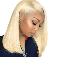 Wholesale blonde 613 lace front wig resale online - 613 Lace Front Human Hair Wigs Colorful Bob Cut Wigs Straight Transparent Short Wigs Honey Blonde Human Hair Wig Full End