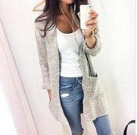 uzun hırka cepleri toptan satış-Kazak Kadın Ceket Moda Sonbahar Kış Kalın Sıcak Tutmak hırka Yeni Lady Kazak Ile Cep Gri Uzun Stil Örgü Katı Boy 5XL