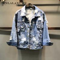 casacos de estilo punk venda por atacado-2019 Estilo Punk Carta Impressão Mulheres Outono Casaco Jaqueta Estilo Solto Mulheres Denim Jaqueta Casaco Topos de Culturas Abrigos Mujer jeans coats