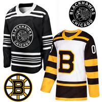 jersey de invierno bruins al por mayor-2019 Clásico de invierno Chicago Blackhawks Boston Bruins DeBrincat Toews Patrick Kane Seabrook Crawford Pastrnak Bergeron Marchand Hockey Jersey