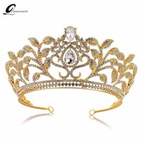 Baroque Crown Drop Blue Red Crystal Tiaras Vintage Gold Rhinestone Pageant  Crowns With Comb Baroque Wedding Hair Accessories 06402ccec353