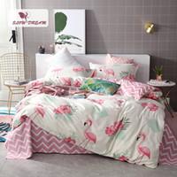 kraliçe pembe yorgan örtüsü toptan satış-Pembe Flamingolar Yatak Seti 3D Çift Çarşaf Yorgan Nevresim Yatak Örtüsü Yatak Örtüsü Yetişkin Kraliçe Kral Linens47