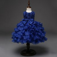 ingrosso 18 mesi abito blu delle ragazze-Rosa Bianco Rosso Blu Toddler Infant Party Favors Ball Gown Dress Per 12 18 24 Mesi 3 4 5 6 Anni Baby Girl Compleanno Abiti Y190516