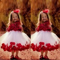 ingrosso abito di sfera di tulle di lunghezza del tè rosso-Lovely Red Ball Gown Tea Lunghezza Flower Girls Abiti gioiello collo 3D Flower Baby Girls Comunione Abito Tulle breve Prom Party Dress