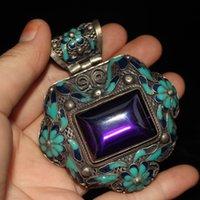 Handwork Old Tibet Silver Inlay Blue Jade Cloisonne Flower Pendant A1