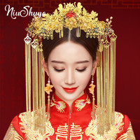 Wholesale chinese jewelry hairpin resale online - NiuShuya Chinese Traditional Bridal Headdress Gold Hairpins Long Tassel Blue Red Butterfly Wedding Jewelry Hair Accessories